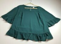 A New Day Women's ¾ Bell Sleeve Blouse Top 2X Plus Green Plaid Crewneck Preppy