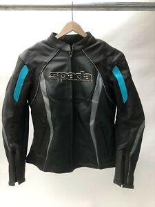 Spada Ladies Leather Sports Motorcycle Jacket sport race - Black - Blue size 14
