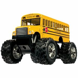 """5""""  Yellow School Bus Big Wheel Monster diecast toy Truckm PULL BACK ACTION"""