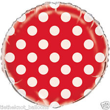 """18"""" FOIL BALLOON RED POLKA DOT round ENGAGEMENT BIRTHDAY VALENTINES XMAS PARTY"""