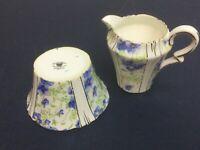 Royal Albert  Fine Bone China Blue pansies Cream and Sugar  England
