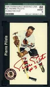 Pierre Pilote 1994 Parkhurst SGC Coa Autograph Authentic Hand Signed