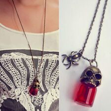 Fashion Skull Vampire Bronze Glass Bottle Pendant Chain Necklace Jewelry Gift