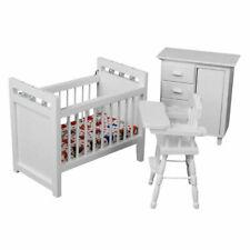 1 12 Dollhouse Miniature Furniture Set 3pcs Crib Baby Closet & High Chair Wb013