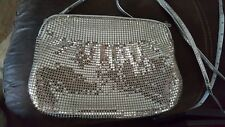Silver Mesh Evening Bag Clutch Shiny and Cute, Clam Snapping Closure