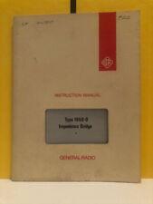 General Radio 1650 0120 B Type 1650 B Impedance Bridge Instruction Manual