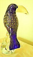 """Murano Art Glass Parrot Hand Blown Sculpture 11"""" Venetian Gold Fleck Blue Toucan"""