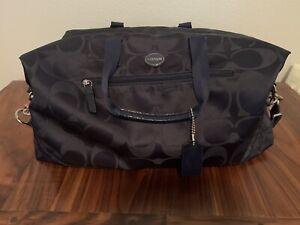 Coach Signature Navy Travel Weekender Duffle Bag