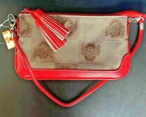 OSU OHIO STATE BUCKEYE PURSE CLUTCH BAG HANDBAG TAN WITH RED