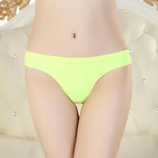 Women Lady Invisible Underwear Thong Cotton Spandex Gas Seamless Crotch Green
