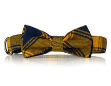Yellow Plaid Bow Tie Dog Collar-  Stylish Custom Dog Collar (Bow Tie Collar)