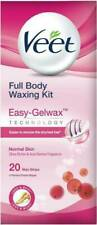 Veet EasyGrip Ready to Use Full Body Waxing Kit Normal Sensitive skin- 20 Strips