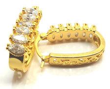 Womens Gold Filled Clear Gem Crystal Oval Hoop Creole Earrings Hoops