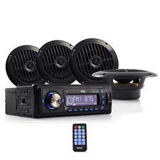 "Pyle PLMRKT14BK Marine Audio Speaker System Head-Unit MP3 AM/FM 4 x 6.5"" Black"