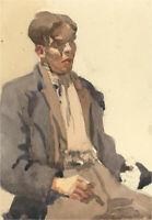 Alexandra E. Layfield - Mid 20th Century Watercolour, Seated Male Figure