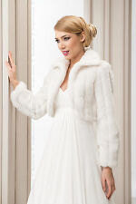 Wedding Ivory Faux Fur Shrug Bridal Bolero Jacket Coat Long Sleeve S M L XL 2xl Ivory