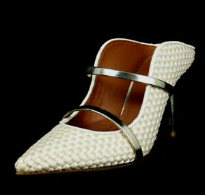 MALONE SOULIERS Ivory Woven Satin Gold Strap MAUREEN Heels Mules 38