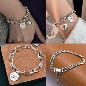 Fashion 925 Silver Star Heart Snake Chain Bracelet Bangle Charm Women Jewellery