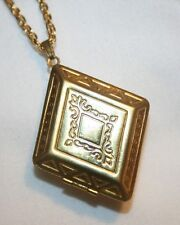 Lovely Goldtone Rhombus Diamond-Shaped Swirled Locket Necklace