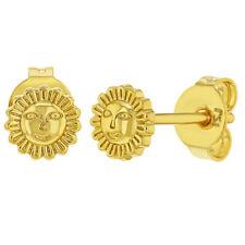 18k Chapado en Oro Pequeño Sol a Presión Tuerca Pendientes para Chicas 4mm