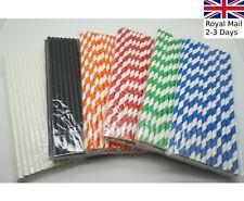 """100x Paper Straws Plain/Stripes 8"""" (20cm) Biodegradable Compostable Eco-Friendly"""