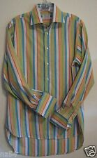 TM LEWIN Multi Colored Striped Med ? Long Sleeve Button Flip French Cuff Shirt