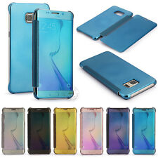 Clear Mirror View Case Slim Flip Cover For Samsung J5 J7 Prime S8 S5 S6 S7 Edge