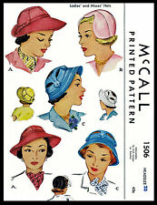 Sewing Pattern Vintage 1940's McCALL #1506 Unique Millinery Stunning Summer Hats