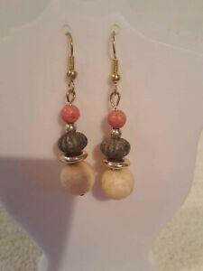 Wooden Bead Dangle earrings. (14). New