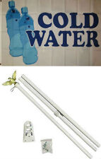 3x5 Advertising Cold Water Bottled Water Flag White Pole Kit Set 3'x5'