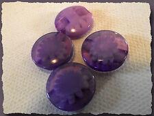 6 BOUTONS Violet translucide avec fleur 14 mm pied 1,4 cm button sewing mercerie