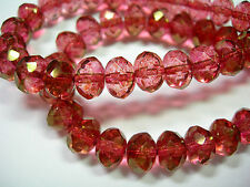 25 8x6mm  Pink with Gold Luster Czech Fire polished Rondelle beads
