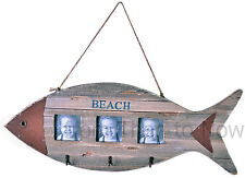 Rustic Nautical Driftwood Wooden Fish Beach Sign Triple Photo Frame with Hooks