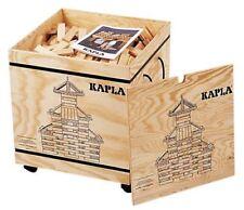 Kapla 1000 Bauklötze in einer Holzkiste auf Rollen, Pinienbausteine (10402)