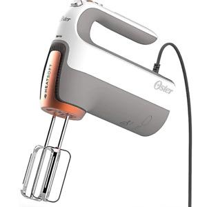 New Oster HeatSoft Hand Mixer 7 Speeds with Storage Case in Grey Boost Button