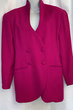 VINTAGE 80S SILK STUDIO 5th Ave REAL NY Bright Fuchsia BLAZER BOXY LINED CAREER