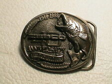 ZEBCO 40 YEAR ANNIVERSARY 1949-1989 3D L.M. BASS FISHING LOOK METAL BELT BUCKLE!