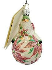 Patricia Breen Snow Frolic Poinsettias Floral Christmas Tree Holiday Ornament