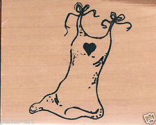 Papercraft4you Mary Hughes Dress heart Lingerie Rubber stamp wood wooden block
