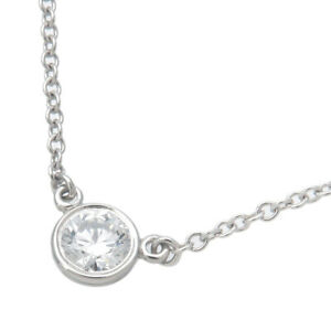 Authentic Tiffany&Co. By the Yard 1P Diamond Necklace 0.17ct Platinum Used F/S