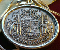 """XF 1940 CANADA 800 Silver 50 Cent Pendant on an 18"""" Sterling Silver Snake Chain"""