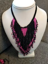 Quirky vintage 80s style black cerise glass bead fringe necklace