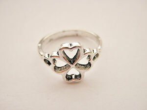 Irish Four Leaf Clover Rings Size 7.5 (P) St Patrick's Day Jewellery Paddys Day