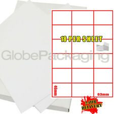 200 SHEETS OF WHITE ADDRESS LABELS - 18 PER SHEET PAGE