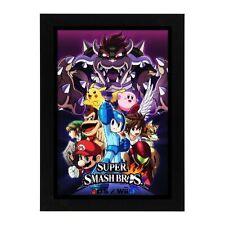 Nintendo Gamecube Super Smash Bros Mario Zelda Megaman Framed Poster Photo #1