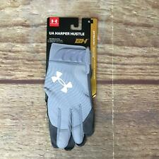 Under Armour Adult Size XL Steel/White Harper Hustle Batting Gloves 1 Pair NWT