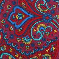 JOS A BANK RESERVE Mens Red Navy PAISLEY Self-tipped Wool Silk Tie Italy NWT