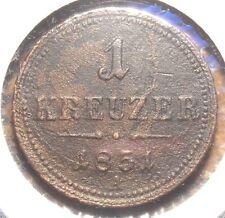 1851-A AUSTRIA KREUZER COPPER COIN SOME CORROSION