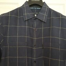 ARMANI JEANS Button Down Check Short Sleeve Shirt Size XL  Made in Italy