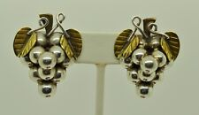 STERLING SILVER TWO-TONED LARGE GRAPE CLUSTER W/LEAVES CLIP-ON EARRINGS#FMG725